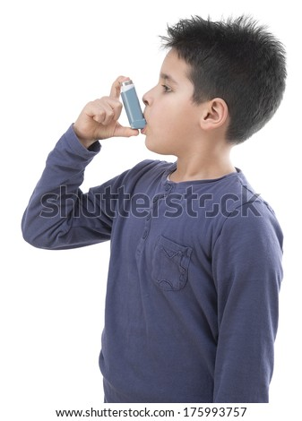 Cute boy with respiratory problem or asthma - stock photo