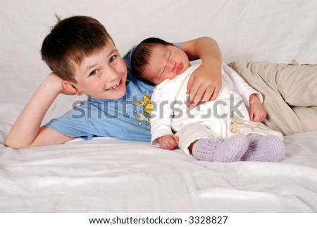 cute brother & sister - stock photo