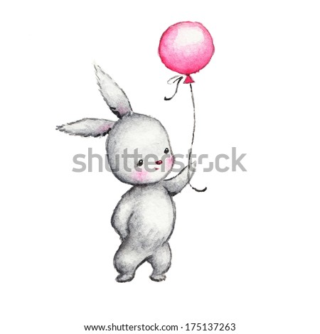Cute Bunny with Pink Balloon - stock photo