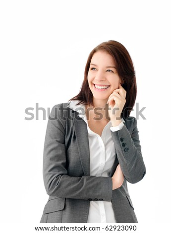 Cute business woman smiling - stock photo