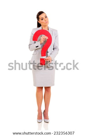 cute businesswoman holding question mark isolated on white - stock photo