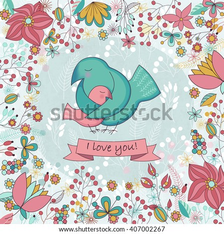 Cute card  for Happy mothers day. Background with floral frame and Mother's hugs. Cute birds - mom and nestling. Raster illustration.  - stock photo