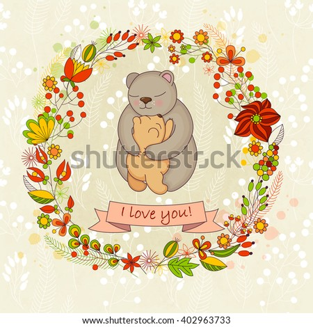 Cute card  for Happy mothers day. Background with floral wreath and Mother's hugs. Cute bears - mom and bear cub.  Raster illustration. - stock photo