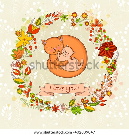 Cute card  for Happy mothers day. Background with floral wreath and Mother's hugs. Cute cats - mom and kitten. Raster illustration. - stock photo