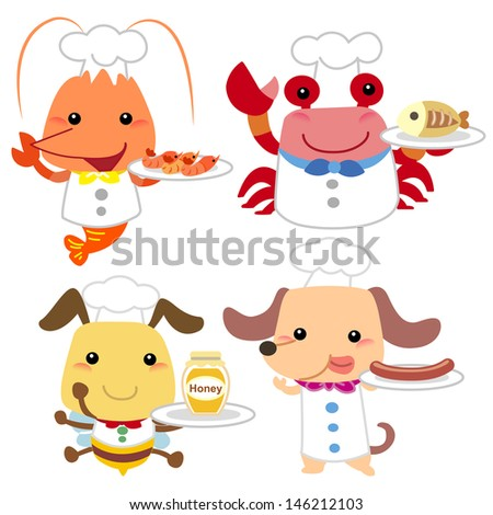cute cartoon animal cook collection with white background. - stock photo