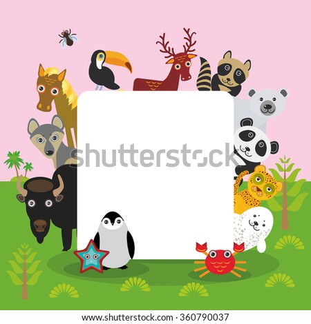 Cute Cartoon animals set toucan deer raccoon horse wolf Bison Penguin starfish crab seal leopard panda polar bear, frame, card design, banner for text.  - stock photo