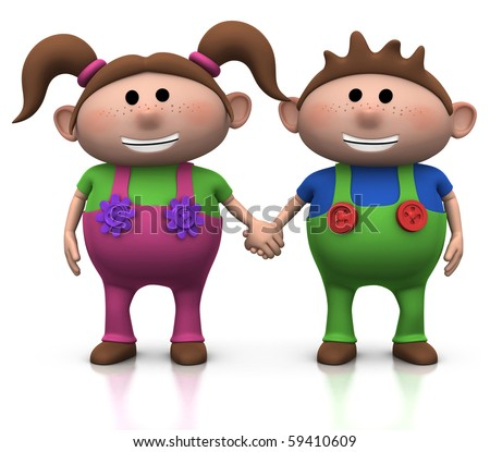 cute cartoon boy and girl holding hands - 3d illustration/rendering - stock photo