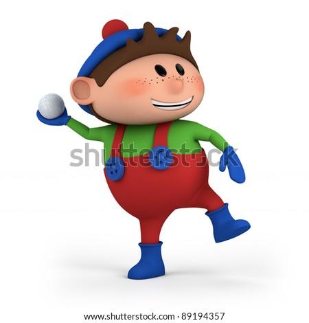 cute cartoon boy throwing snowball - high quality 3d illustration - stock photo