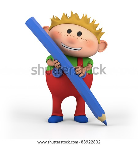cute cartoon boy with colored pencil - high quality 3d illustration - stock photo