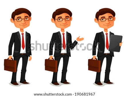 cute cartoon businessman in various poses - stock photo