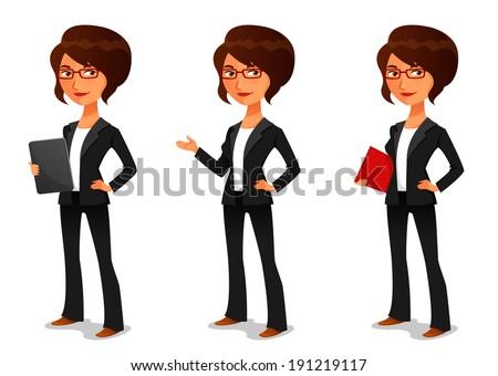cute cartoon businesswoman in elegant suit - stock photo