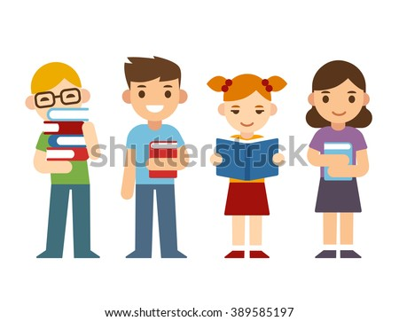 Cute cartoon children with books. Happy diverse kids, boys and girls. Modern flat style illustration. - stock photo