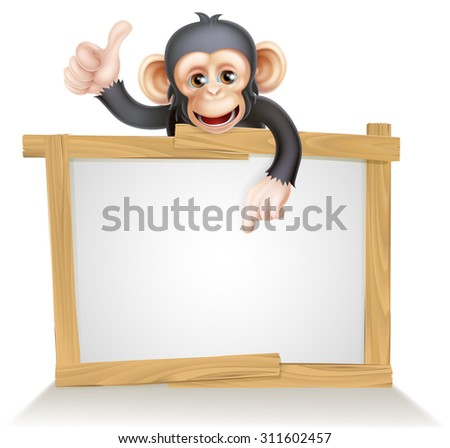Cute cartoon chimp monkey like character mascot peeking above a sign, pointing at it and giving a thumbs up - stock photo
