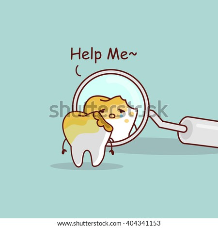 cute cartoon decayed tooth with dentist mirror, great for health dental care concept - stock photo