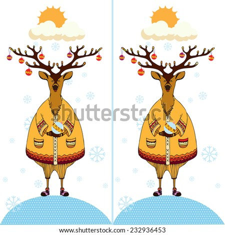 Cute cartoon Deer. Find the ten differences between the two pictures. Puzzle for kids. - stock photo