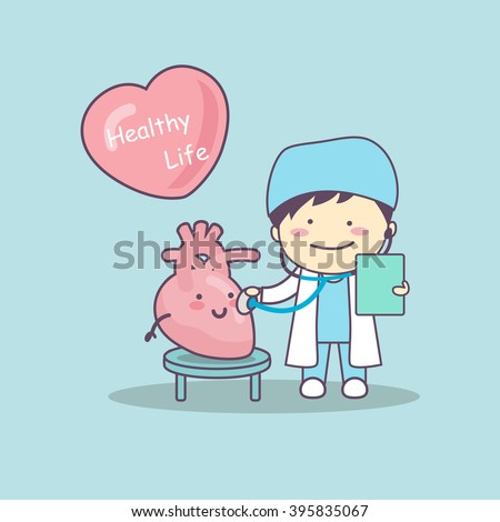 cute cartoon doctor check heart , great for health life concept - stock photo