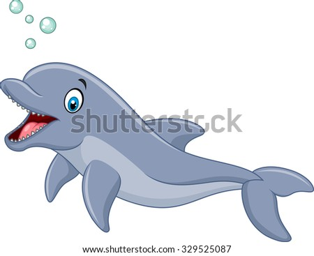Cute cartoon dolphin with bubbles isolated on white background  - stock photo