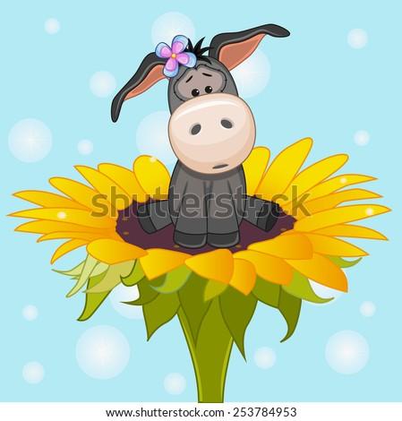 Cute cartoon Donkey on the flower  - stock photo