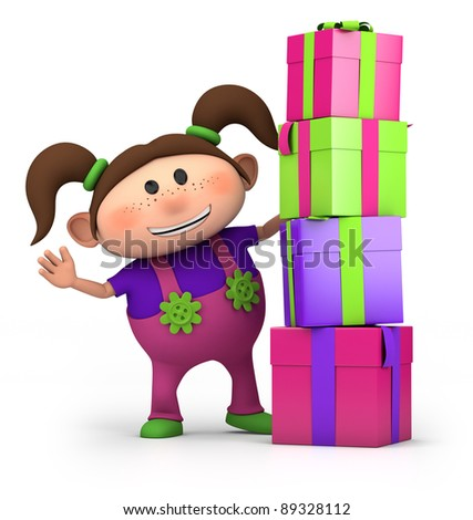 cute cartoon girl waving from behind pile of presents- high quality 3d illustration - stock photo