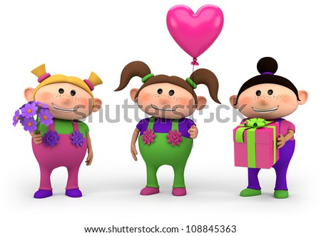 cute cartoon girls with birthday presents - high quality 3d illustration - stock photo
