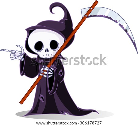 Cute cartoon grim reaper with scythe pointing - stock photo