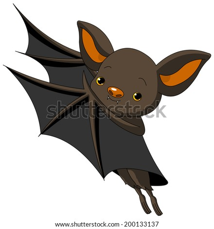 Cute Cartoon Halloween bat presenting with his wings. Raster version.   - stock photo