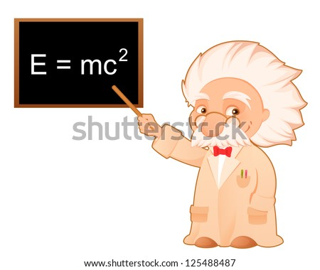cute cartoon illustration of a scientist pointing at the famous theory of relativity formula on the board - stock photo