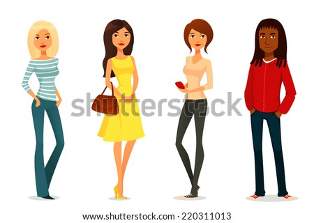 cute cartoon illustration of young people in various outfits - stock photo
