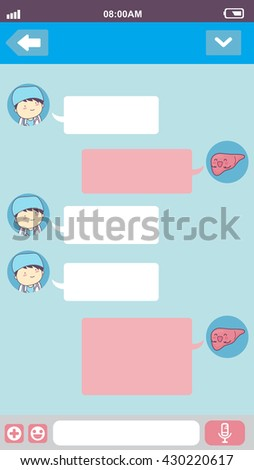cute cartoon liver with doctor in smart phone chat bubbles with blank text, great for your design - stock photo