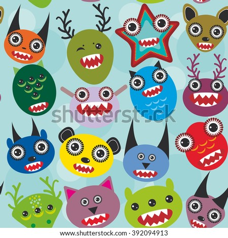 Cute cartoon muzzle Monsters seamless pattern on blue background.  - stock photo