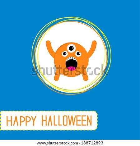 Cute cartoon orange monster. Orange background. Happy Halloween card. Rasterized copy - stock photo