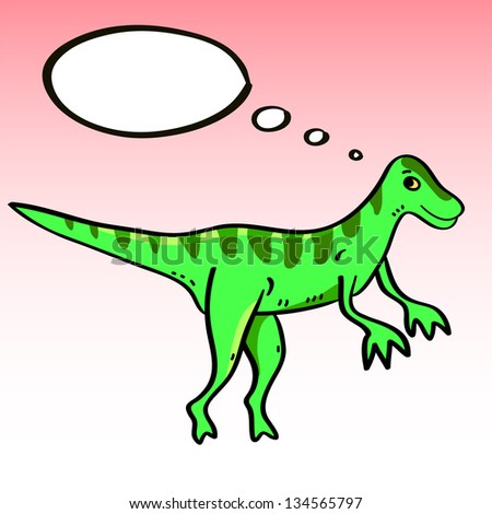 cute cartoon ornithomimus dinosaur character with a speech bubble raster version vector file also