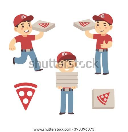 Cute cartoon pizza delivery boy set. Three poses, cardboard box and pizza slice logo. Isolated illustration. - stock photo