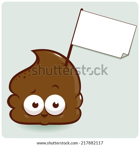 Cute cartoon poop with blank sign. Vector version also available in my gallery. - stock photo