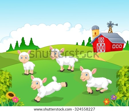 Cute cartoon sheep collection set in with farm background  - stock photo