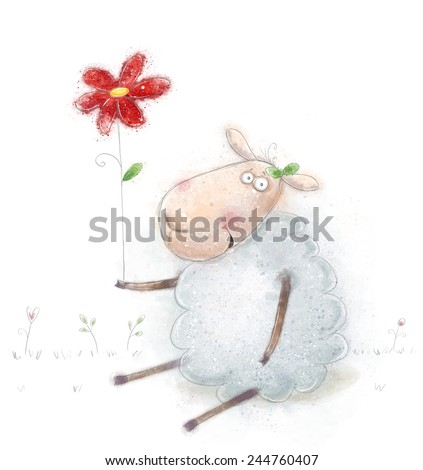 Cute cartoon sheep with the red flower. Valentines greeting card. Happy birthday card. Mothers day card.Congratulations. Valentine day. Beautiful postcard. Children room poster.Wool wear. Ecological. - stock photo