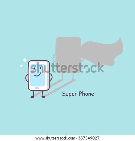 cute cartoon super phone, great for technology concept design - stock photo
