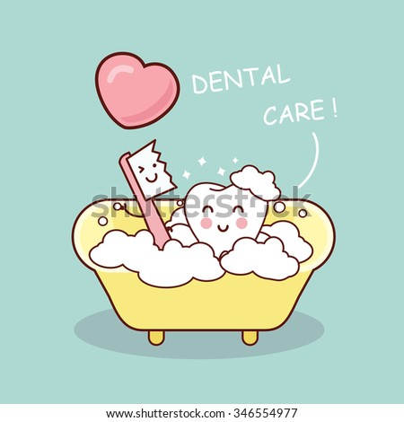 cute cartoon tooth brush and clean, great for health dental care concept - stock photo