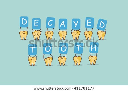 cute cartoon yellow tooth jump with billboard,decayed tooth, great for health dental care concept - stock photo