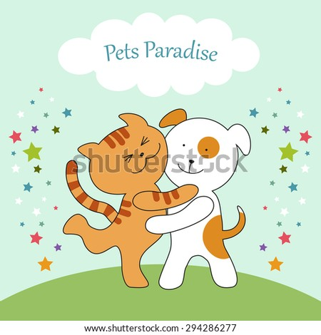 Cute Cat and Dog union can be used for veterinary clinic, pet shop or pets hotel banner, etc - stock photo
