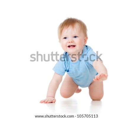 cute cheerful crawling baby boy isolated on white background - stock photo