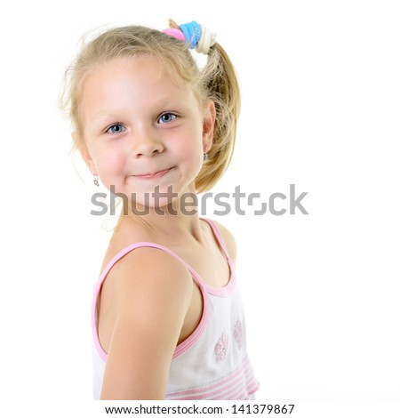 cute cheerful  little girl portrait, isolated on white background - stock photo
