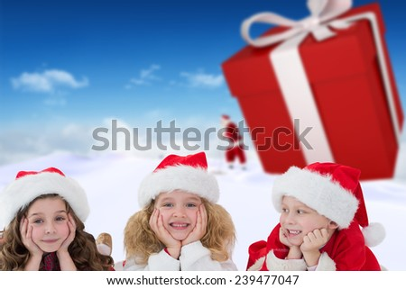 Cute children against bright blue sky over clouds - stock photo