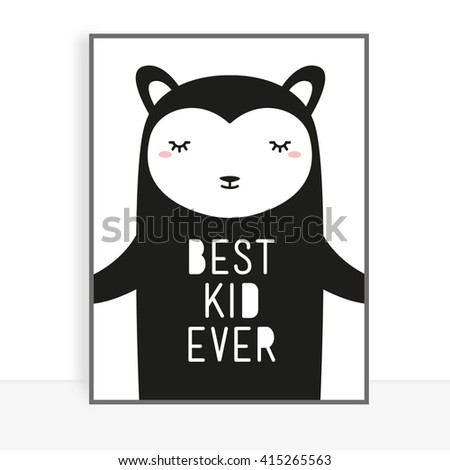 Cute children's poster - stock photo