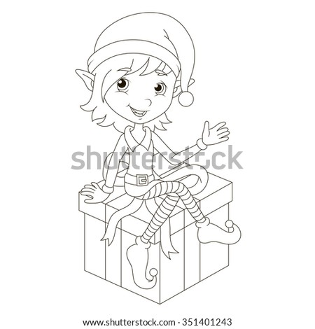 Cute Christmas elf sitting on gift. Raster. - stock photo