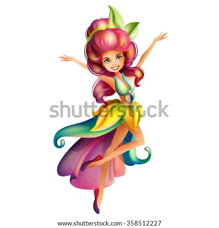 Cute colorful fairy character - stock photo