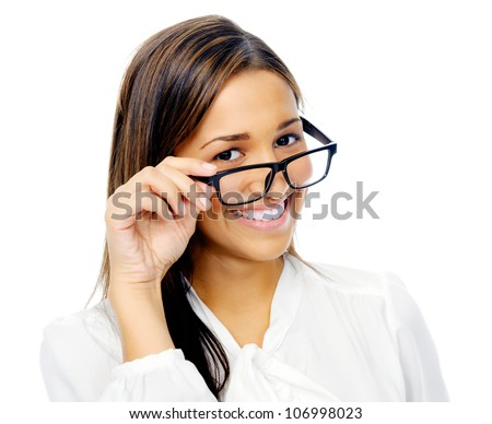 Cute confident businesswoman portrait with glasses. hispanic woman isolated on white background - stock photo