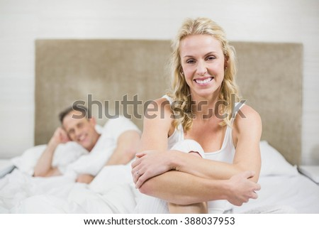 Cute couple resting in their room - stock photo
