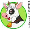 Cute cow cartoon mascot - stock photo