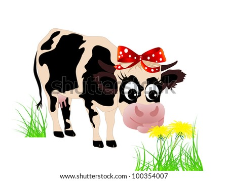 Cute cow eating dandelion in the grass - stock photo